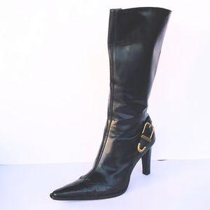 Antonio Melani Black Leather Below the knee Boots.